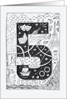 Number Five(5) black/white colouring tangle-style numerology adventure card