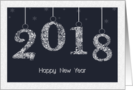 2018 with Snowflakes on a String for New Year's card