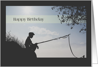 Silhouette Boy Fishing Birthday Card