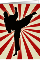 Karate Kick in Front of Sunburst Birthday Card