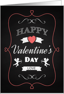Chalk Heart and Cupid Retro Valentine Day card