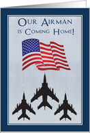 Announce to Everyone Your Airman is Coming Home with Fighter Planes card
