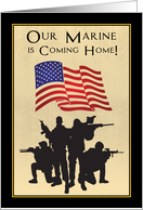 Marine Returning Home Announcement with Soldiers and Flag card
