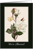 Marriage Announcement with Vintage Rose Painting and Wedding Rings card