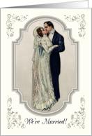 Marriage Announcement with Victorian Couple in Wedding Dress card