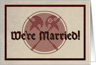 Medieval Marriage Announcement with Battle Axes card