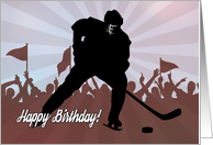 Silhouette Hockey Player in front of Cheering Crowd for Birthday card