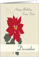 Red Poinsettias December Birth Flower for Foster Sister Birthday card