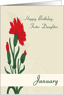 Foster Daughter January Birth Flower with Carnations for Birthday card