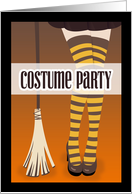 Witch's Legs with Broom Costume Party Invitation card