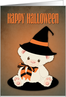 Cute Teddy Bear with Witch's Hat for Halloween card