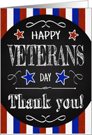 Retro Chalkboard Veterans Day with Stars and Stripes card