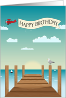 Scenic Pier with Airplane and Banner for Birthday card