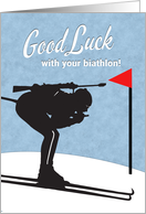 Biathlon Good Luck with Skier and Rifle Silhouette card