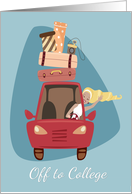 Girl Driving Off to College with Red Car and Suitcases card