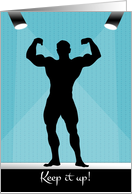 Male Bodybuilding Silhouette on the Stage for Encouragement card