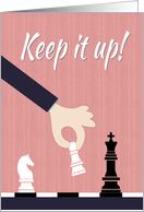 Cartoon Chess Player Making a Move for Encouragement card