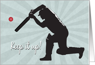 Silhouette Cricket Player Hits a Ball for Encouragement card