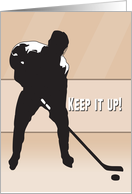 Ice Hockey Silhouette Player Taking a Shot for Encouragement card