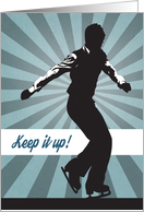 Male Figure Skater Competitor with Blue Sunburst for Encouragement card