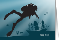 Scuba Diver with Ship Wreckage for Encouragement card