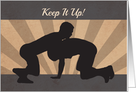 Silhouette Wrestlers in a Match for Encouragement card