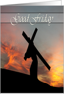 Christ Carries the Cross with Sunset Background for Good Friday card