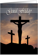 Jesus Crucifixion with Sunset Background for Good Friday card