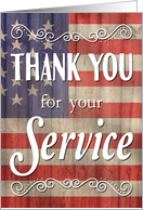 Thank You for Your Service with Flag for Veterans Day card
