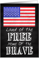 Chalkboard Land of the Free and Home of the Brave Veterans Day card