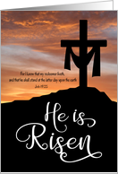 He is Risen with Cross and Sunset for Good Friday card