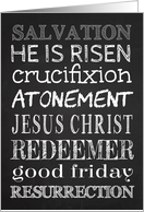 Retro Chalkboard with Encouraging Words for Good Friday card