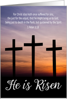 Three crosses with Gorgeous Sunset and Bible Verse for Good Friday card