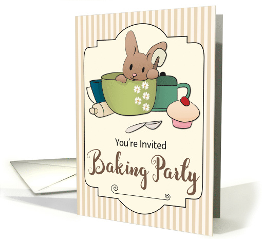 Invitation for a Baking Party with Bunny in Mixing Bowl card (1533170)