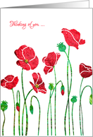Thinking of You on Your Mum's Anniversary, elegant Red Poppy Floral, card