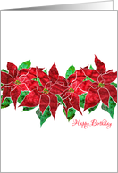 December Birthday with Stylized Poinsettia, Elegant Floral Design card