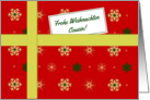 Frohe Weihnachten - For cousin (m) German language Christmas parcel card