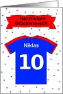 10th birthday t-shirt custom name - German language card