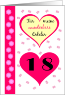 18th birthday my granddaughter pink hearts - German language card