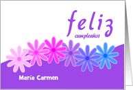 Custom name birthday flowers purple and white - Spanish language card