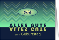 Uncle birthday blue-green chevrons - German language card