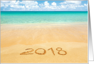 2018 Drawn in Sand on Beach New Year Card