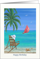 Beach and Sailing Birthday card with beach chair and gentle waves card