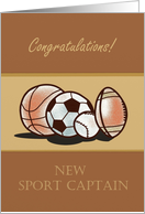 Congratulations New Sport Captain with sports watercolor sport balls card