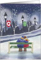 City Park Scene Interfaith Christmukkah with Couple at Park Bench card