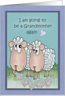 Grandma Sheep Showing Pictures of New Grandbaby to Friend card