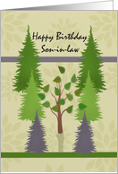 Happy Birthday Son-in-law with lone deciduous tree among pine trees card