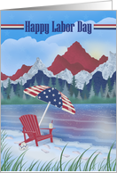 Happy Labor Day Patriotic Colors Mountains, Umbrella, Beach, Chair card