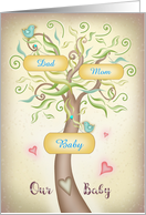 Family Tree Customize with Mom, Dad, Baby names card