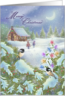 Merry Christmas Log Cabin in Woods, Night Scene Snow, Birds, Tree card